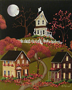 Halloween Folk Art Posters - House on Haunted Hill Poster by Catherine Holman