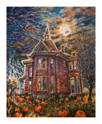 Haunted House Print Prints - House on Pumpkin Hill Print by William Vanya