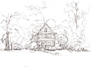 Property Drawings Prints - House on the Corner Print by T Visco