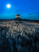 Moonlit Night Prints - House on the Prairie under a Full Moon Print by Jill Battaglia