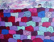 Folk  Paintings - House on Top of Patchwork Hill by Wayne Potrafka