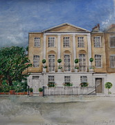 Residential Drawings Framed Prints - House portrait London SW1 Framed Print by Rebecca Lilley