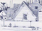 Pen And Ink Drawing Framed Prints - House Sketch One Framed Print by Donald Maier