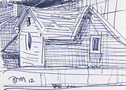 Pen  Drawings Originals - House Sketch Two by Donald Maier