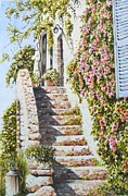Steps Painting Posters - House St Paul de Vence France Poster by Frances Evans