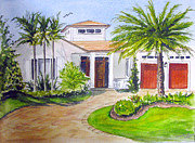 Florida House Paintings - House with Palm trees by Clara Sue Beym