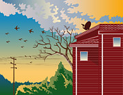 Power Lines Prints - House With Satellite Dish Retro Print by Aloysius Patrimonio