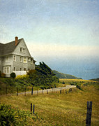Curvy Road Prints - House with View of the Ocean Print by Jill Battaglia