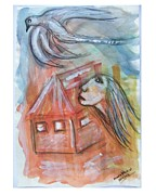 Roaming Painting Posters - House Without A Door - Haus Ohne Tuer Poster by Mimulux patricia no