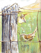 Wren Painting Framed Prints - House Wrens Framed Print by Callie Smith