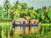 Kerala Paintings - Houseboat by Balram Panikkaserry