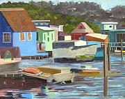 Sausalito Painting Prints - Houseboats at Sausalito Print by Deborah Cushman