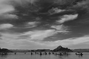 Black And White Nature Landscapes Posters - Houseboats on Lake Powell Poster by Andrew Soundarajan