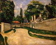 Chimney Paintings - Houses Along a Road by Paul Cezanne