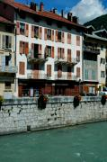 Rhone Alpes Framed Prints - Houses along the Isere Framed Print by Francois Dumas