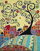 Primitive Folk Art Prints - Houses and a Swirl Tree Print by Karla Gerard