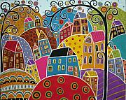 Karla G Paintings - Houses And Swirl Trees by Karla Gerard