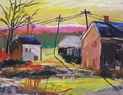Wires Drawings Prints - Houses at Sunrise Print by John  Williams