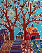 Outsider Art Paintings - Houses Barn And Birds by Karla Gerard