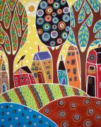 Folk Art Abstract Prints - Houses Barn Landscape Print by Karla Gerard