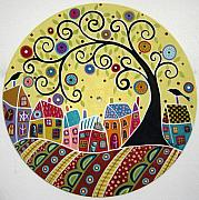 Folk Art Abstract Prints - Houses Birds And A Swirl Tree Print by Karla Gerard