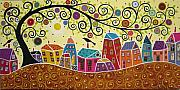 Houses Paintings - Houses Birds And A Tree by Karla Gerard