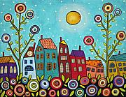 Folk Art Mixed Media Posters - Houses Blooms And A Moon Poster by Karla Gerard