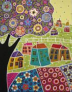Folk Art Mixed Media Posters - Houses Blooms and a Tree Poster by Karla Gerard