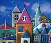 Village Pastels Prints - Houses Print by Caroline Peacock