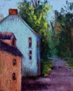 Old Roadway Pastels Posters - Houses in  Ireland Poster by Joyce A Guariglia