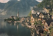 Period Posters - Houses Line The Lake Of Hallstatt Poster by W. Robert Moore