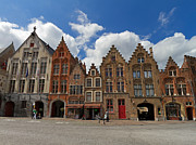 Belgium Photos - Houses of Jan Van Eyck Square in Bruges Belgium by Louise Heusinkveld