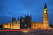 Long Street Framed Prints - Houses Of Parliament And Big Ben At Night Framed Print by Dennis Flaherty