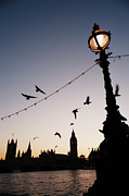 Large Clock Prints - Houses Of Parliament Viewed Across River Thames Print by Gary Yeowell