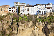 Pueblo Blanco Metal Prints - Houses on a Cliff in Ronda Town Metal Print by Artur Bogacki