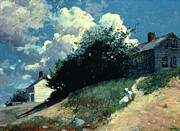 Perched Paintings - Houses on a Hill by Winslow Homer