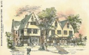 Victorian Buildings Paintings - Houses on Locust Street Walnut Hills Cincinnati Ohio 1888 by SE DesJardins