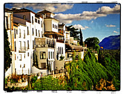 Ronda Prints - Houses on the Cliff in Ronda Spain Print by Mary Machare