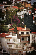 Red Tile Roof Posters - Houses on the Hill Nerja Poster by Mary Machare