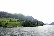 Greenery Photos - Houses on the slope of a mountain next to Lake Lucerne by Ashish Agarwal