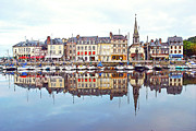 Riverbank Prints - Houses Reflection In River, Honfleur Print by Ana Souza