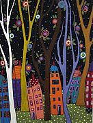 Karla G Paintings - Houses Trees And Flowers by Karla Gerard