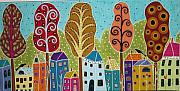 Folk Art Mixed Media Posters - Houses Trees Birds Painting by Karla G Poster by Karla Gerard
