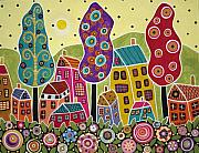 Karla G Mixed Media - Houses Trees Flowers by Karla Gerard