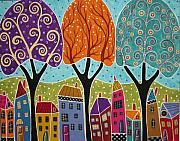 Folk Art Mixed Media Posters - Houses Trees Folk Art Abstract  Poster by Karla Gerard