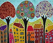 Folk Art  Paintings - Houses Trees Landscape by Karla Gerard