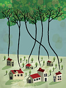 Residential Structure Prints - Houses With Trees Smoking Out Of The Chimneys Print by Francisco Martins