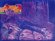 Clothed Figure Pastels Prints - Housewife on bed admiring a painting of her house Print by Gerald Swift