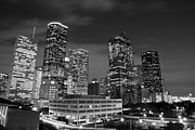 Olivier Framed Prints - Houston by night in black and white Framed Print by Olivier Steiner
