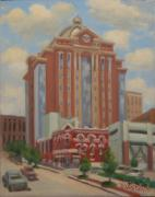 Lawyers Paintings - Houston Civil Courts Bldg. on Franklin Ave. by Texas Tim Webb
